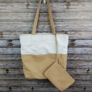 Cole Haan Birch Leather Tote bag w/ pouch white